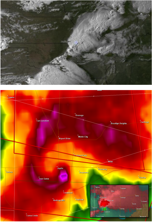 Satellite and Radar Imagery of May 22, 2011 Joplin, MO Tornado