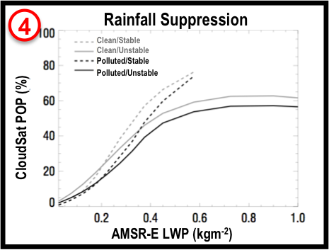 CloudSat, AMSR-E, and MODIS Data Indicate that Aerosols Suppress Precipitation Development